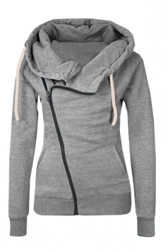 Womens Oblique Side Zipper Long Sleeve Plain Hoodie Gray