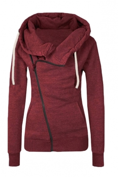 Womens Oblique Side Zipper Long Sleeve Plain Hoodie Ruby