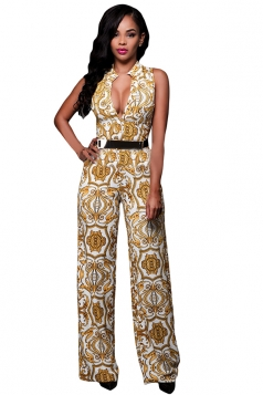Womens Casual Exotic Printed High Waist Palazzo Jumpsuit Yellow