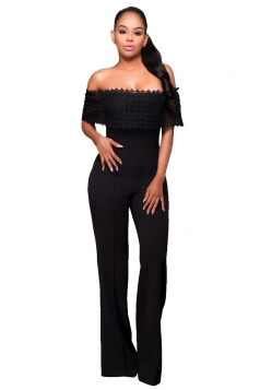 Womens Off Shoulder High Waist Plain Palazzo Jumpsuit Black