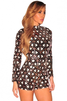 Womens Stylish Aztec Sequins Long Sleeves Romper Brown