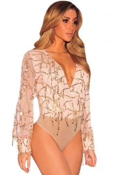 Womens Plunging Neck Flowing Sequins Long Sleeves Bodysuit Apricot