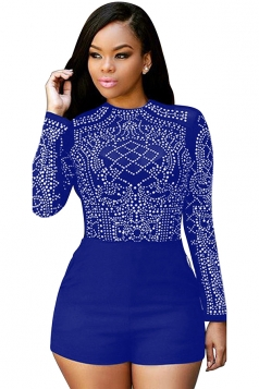 Womens Sheer Rhinestone Long Sleeve Romper Sapphire Blue