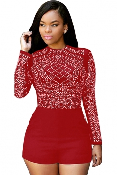 Womens Sheer Rhinestone Long Sleeve Romper Ruby