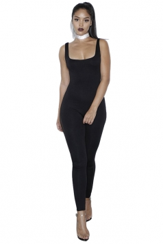 Womens Side Mesh Patchwork Plain Sleeveless Bodycon Jumpsuit Black