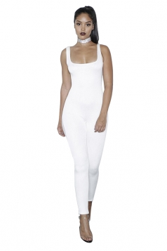 Womens Side Mesh Patchwork Plain Sleeveless Bodycon Jumpsuit White
