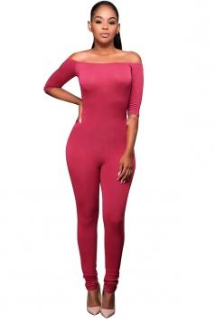 Womens Off Shoulder Plain Half Sleeve Pencil Jumpsuit Watermelon Red
