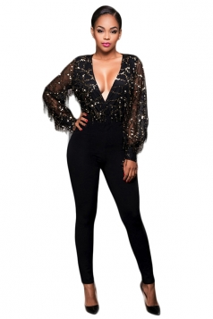 Womens V Neck Sequined Fringe Mesh Sleeve Jumpsuit Black