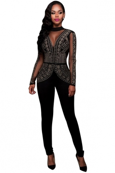 Womens Rhinestone Long Sleeve Open Back Jumpsuit Black