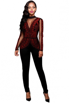 Womens Rhinestone Long Sleeve Open Back Jumpsuit Dark Red