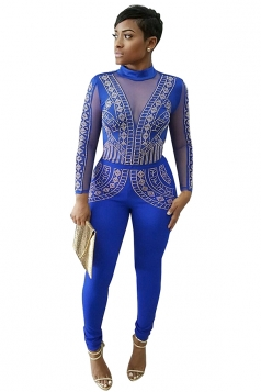 Womens Rhinestone Long Sleeve Open Back Jumpsuit Sapphire Blue