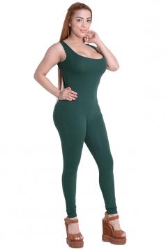 Womens Plain Sleeveless Open Back Bodycon Jumpsuit Dark Green