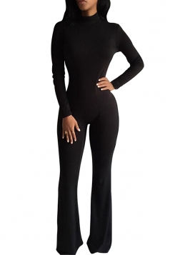 Womens Mock Neck Long Sleeve Plain Zipper Back Jumpsuit Black