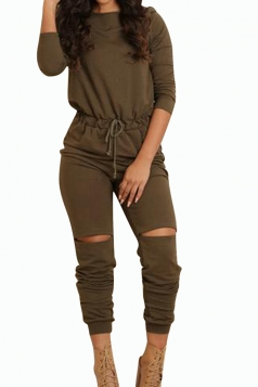 Womens Plain Drawstring Waist Long Sleeve Ripped Jumpsuit Army Green