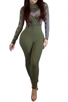 Womens Geometric Printed High Waist Long Sleeve Jumpsuit Army Green