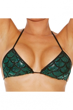 Womens Sexy Halter Scale Printed Lace-up Bra Green