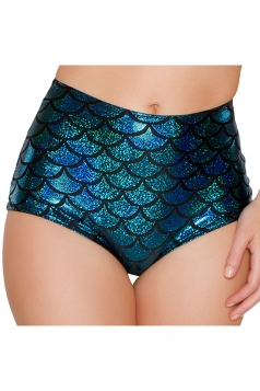 Womens Sexy Fish Scale Printed High Waist Panty Blue