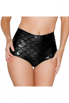 Womens Sexy Fish Scale Printed High Waist Panty Black