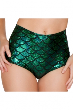Womens Sexy Fish Scale Printed High Waist Panty Green