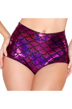 Womens Sexy Fish Scale Printed High Waist Panty Purple