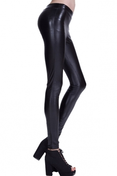 Womens Plain Elastic Waist Ankle Length PU Leather Leggings Black