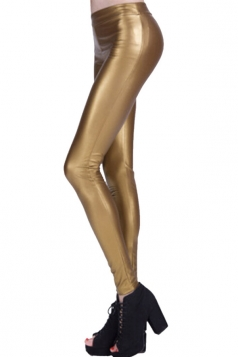 Womens Plain Elastic Waist Ankle Length PU Leather Leggings Gold