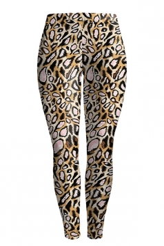 Womens Leopard Printed Skinny Buff Lift Leggings Chestnut