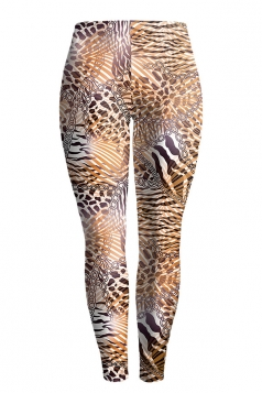 Womens Skinny Buff Lift Leopard Printed Leggings Brown