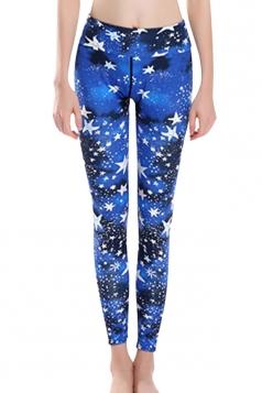 Womens High Waist Star Galaxy Printed Ankle Length Yoga Leggings Blue