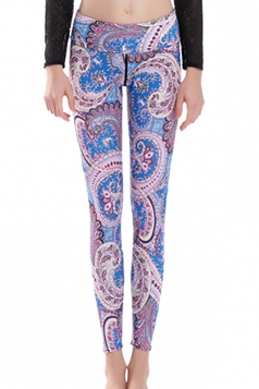 Womens High Waist Exotic Printed Ankle Length Yoga Leggings Light Blue