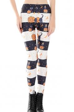 Womens Skinny Stripped Pumpkin Printed Leggings White