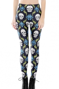 Womens Skinny Skeleton Printed Leggings Black