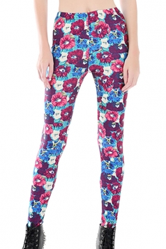 Womens Skinny Color Block Floral Printed Leggings Blue