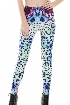 Womens Skinny High Waist Gradient Leopard Leggings Blue