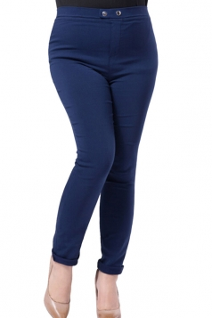 Womens Plus Size Elastic High Waist Two-buttons Leggings Navy Blue