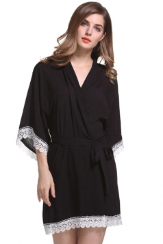Womens Lace Patchwork 3/4 Length Sleeve Sash Sleepwear Black