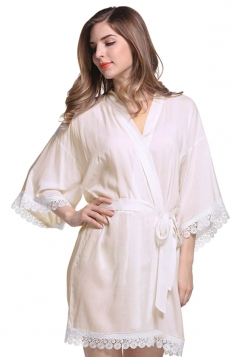 Womens Lace Patchwork 3/4 Length Sleeve Sash Sleepwear Beige White