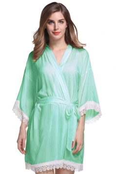 Womens Lace Patchwork 3/4 Length Sleeve Sash Sleepwear Green