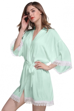 Womens Lace Patchwork 3/4 Length Sleeve Sash Sleepwear Light Green