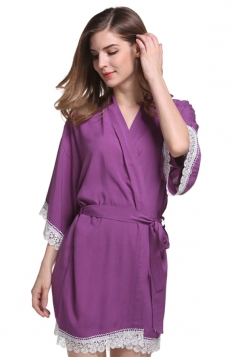 Womens Lace Patchwork 3/4 Length Sleeve Sash Sleepwear Purple