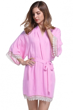 Womens Lace Patchwork 3/4 Length Sleeve Sash Sleepwear Pink