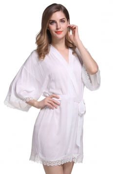 Womens Lace Patchwork 3/4 Length Sleeve Sash Sleepwear White