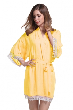 Womens Lace Patchwork 3/4 Length Sleeve Sash Sleepwear Yellow