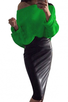 Womens Boat Neck Batwing Sleeve Plain Pullover Sweater Green