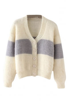 Womens Single-breasted Color Block Cardigan Sweater Beige White