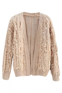Womens Ripped Fringed Long Sleeve Plain Cardigan Sweater Apricot