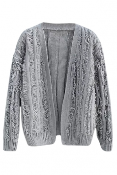 Womens Ripped Fringed Long Sleeve Plain Cardigan Sweater Gray