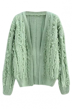 Womens Ripped Fringed Long Sleeve Plain Cardigan Sweater Light Green