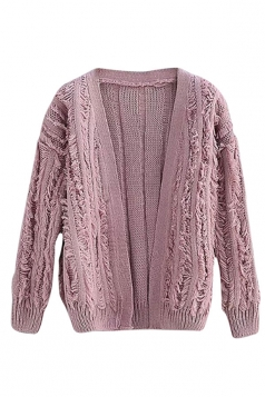 Womens Ripped Fringed Long Sleeve Plain Cardigan Sweater Pink