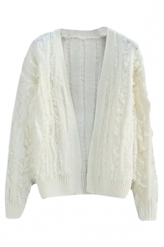 Womens Ripped Fringed Long Sleeve Plain Cardigan Sweater White
